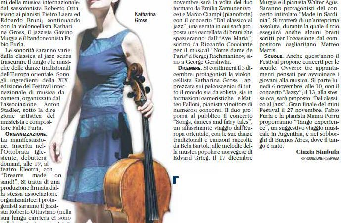 Article in L'Unione Sarda / Sardinia